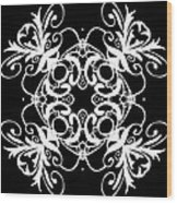 Coffee Flowers Ornate Medallions Bw Vertical Tryptych 2 Wood Print