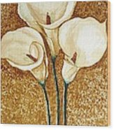 Coffee Painting - Flowers Wood Print by Rejeena Niaz