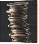 Coin Stack 1 Wood Print