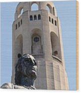 Coit Tower Statue Columbus Wood Print