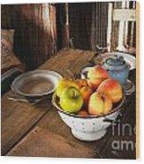 Colander Of Fruit Wood Print