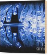 Cold Blue Led Lights Closeup Wood Print