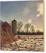 Cold Winter Barn Wood Print
