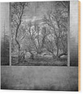 Collage Misty Trees Wood Print