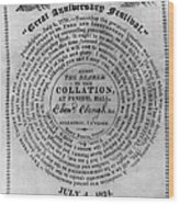 Collation Ticket, 1824 Wood Print