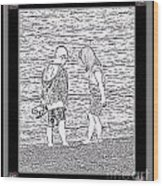 Collecting Seashells By The Seashore Wood Print