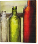 Collector - Bottles - Still Life Of Three Bottles  Wood Print