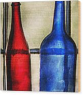 Collector - Bottles - Two Empty Wine Bottles  Wood Print