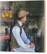 Colonial Man In Kitchen Wood Print