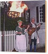 Colonial Musicians By Firelight Wood Print