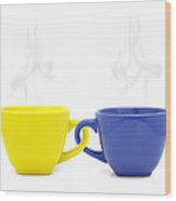 Color Cup With Hot Drink On White Background Wood Print