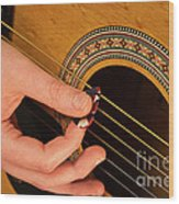 Color Guitar Picking Wood Print by Michael Waters