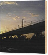 Color Of Sunset Over Metro Pillar In Delhi Wood Print