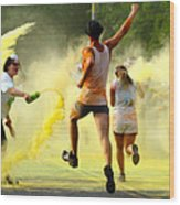 Color Run Happy Wood Print