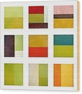 Color Study Abstract Collage Wood Print by Michelle Calkins