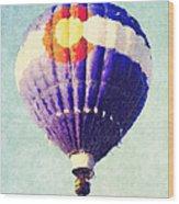 Colorado Flag Hot Air Balloon Wood Print