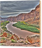 Colorado River Flows Through A Stormy Moab Portal Wood Print