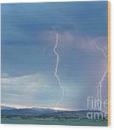 Colorado Rocky Mountains Foothills Lightning Strikes 2 Wood Print