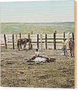 Colorado: Roping A Steer Wood Print