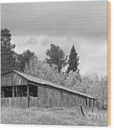 Colorado Rustic Autumn High Country Barn Bw Wood Print