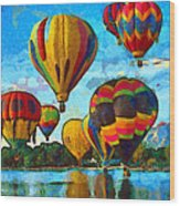 Colorado Springs Hot Air Balloons Wood Print by Nikki Marie Smith