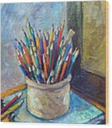 Colored Pencils In Butter Crock Wood Print by Jean Groberg