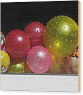 Colorful Balls In The Shop Window Wood Print by Ausra Huntington nee Paulauskaite