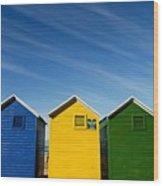 Colorful Beach House Wood Print