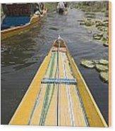 Colorful Boats On Dal Lake Dal Lake Wood Print