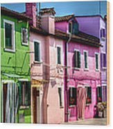 Colorful Burano Italy Wood Print