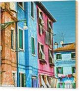 Colorful Burano Wood Print