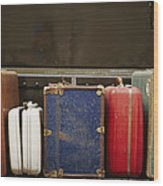 Colorful But Worn Luggage Awaits Wood Print