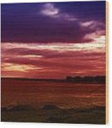 Colorful Clouds Over Ocean At Sunset Wood Print