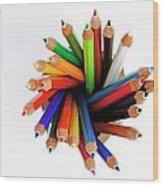 Colorful Crayons In Jar Wood Print