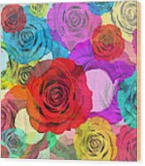 Colorful Floral Design  Wood Print