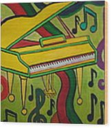Colorful Grand Piano Wood Print