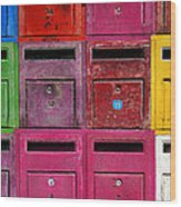 Colorful Mailboxes Wood Print