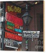 Colorful Neon Sign On Bourbon Street Corner French Quarter New Orleans Poster Edges Digital Art Wood Print