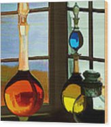 Colorful Old Bottles Wood Print by Suni Roveto