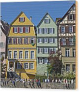 Colorful Old Houses In Tuebingen Germany Wood Print