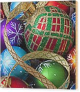 Colorful Ornaments With Ribbon Wood Print