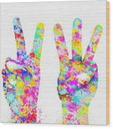 Colorful Painting Of Hands Number 0-5 Wood Print by Setsiri Silapasuwanchai