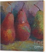 Colorful Pears Wood Print