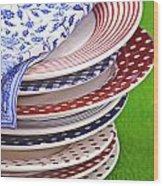 Colorful Plates Wood Print