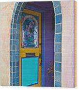 Colorful Porch Wood Print