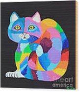 Colorful Rainbow Cat Wood Print