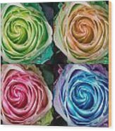 Colorful Rose Spirals Wood Print