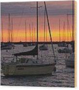 Colorful Skies At This Harbor Wood Print