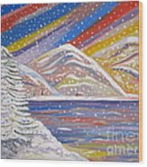 Colorful Snow Wood Print