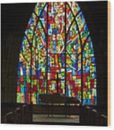 Colorful Stained Glass Chapel Window Wood Print